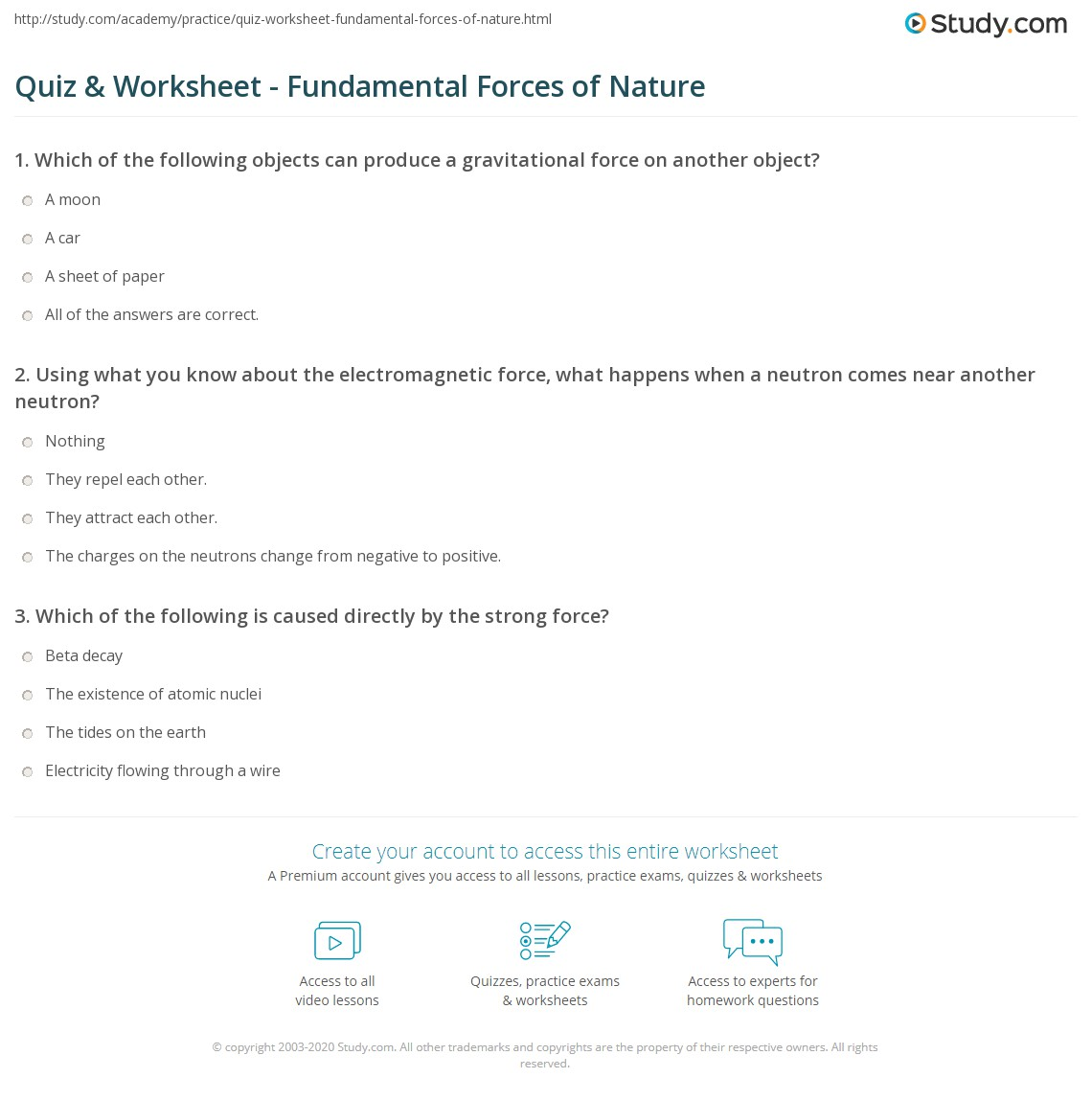 Uncategorized The Nature Of Science Worksheet Answers quiz worksheet fundamental forces of nature study com print the four worksheet