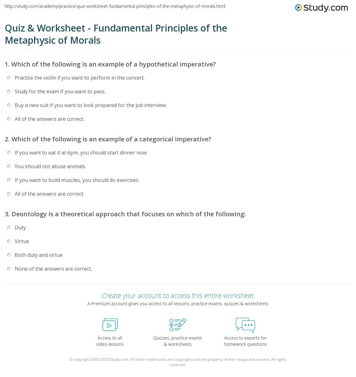 Quiz Worksheet Fundamental Principles Of The Metaphysic Of