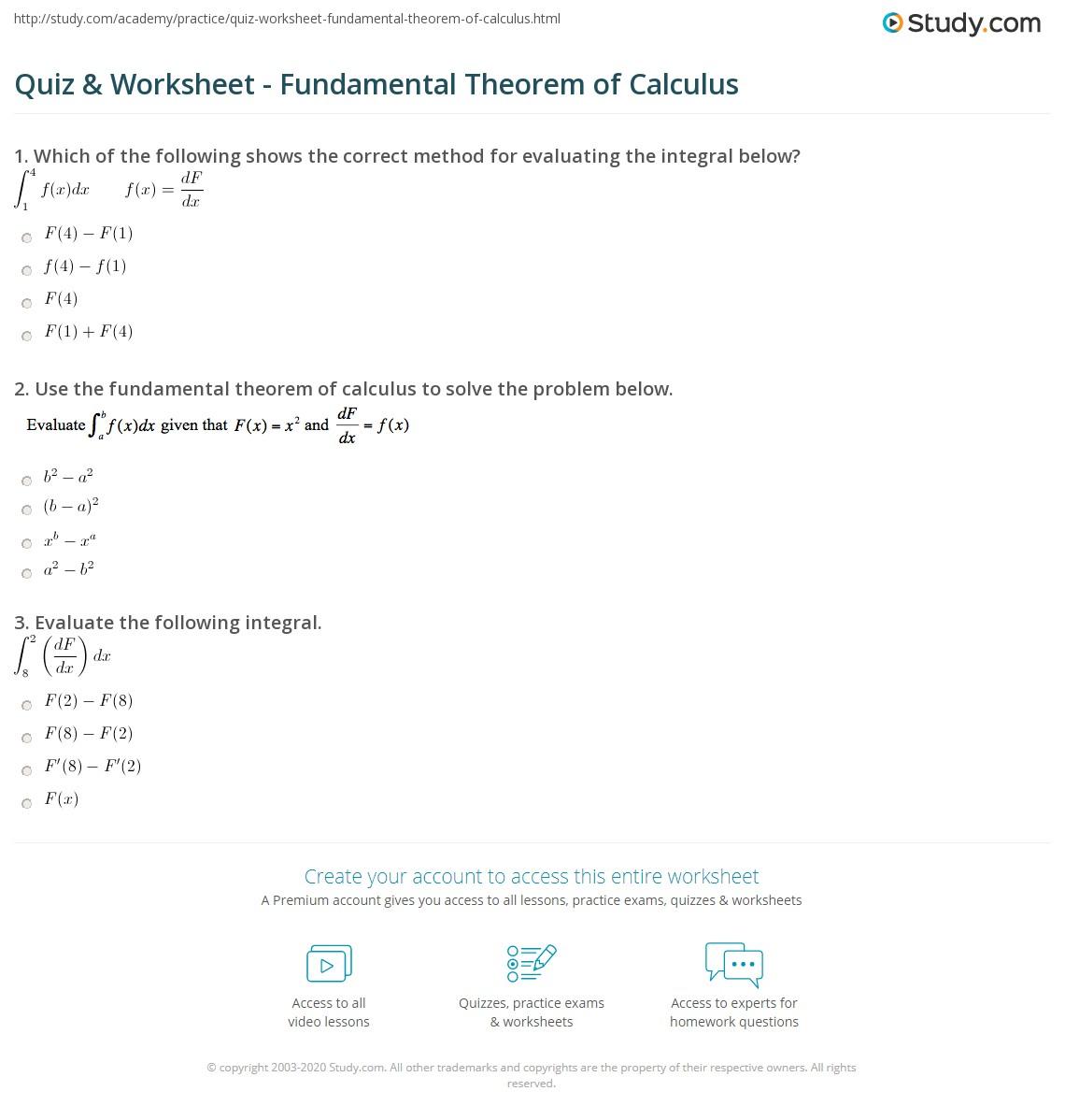 Worksheets Calculus Worksheet quiz worksheet fundamental theorem of calculus study com print the worksheet