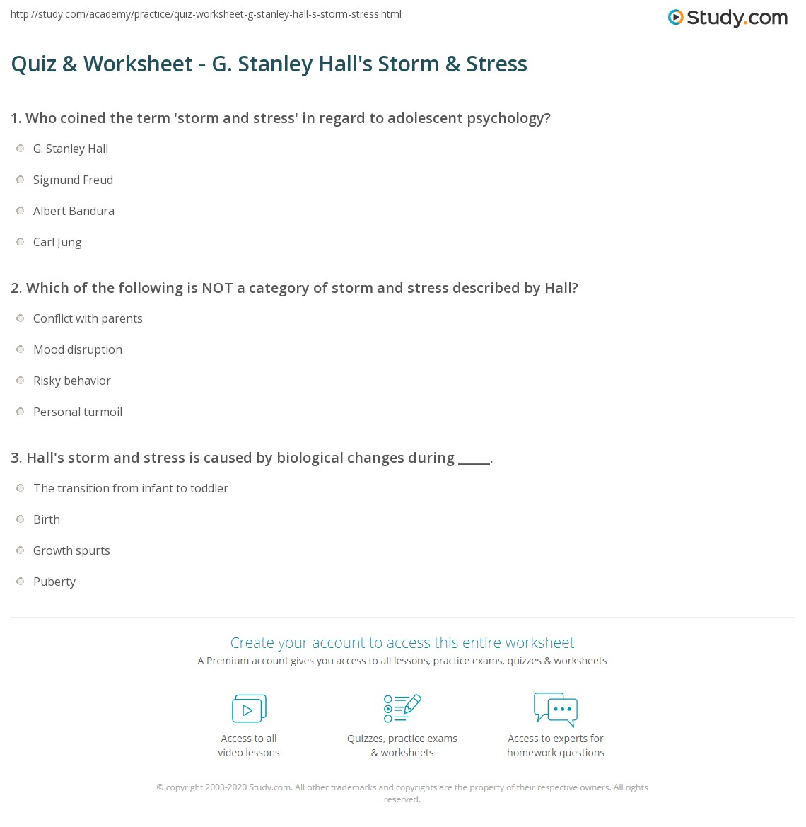 stanley hall storm and stress