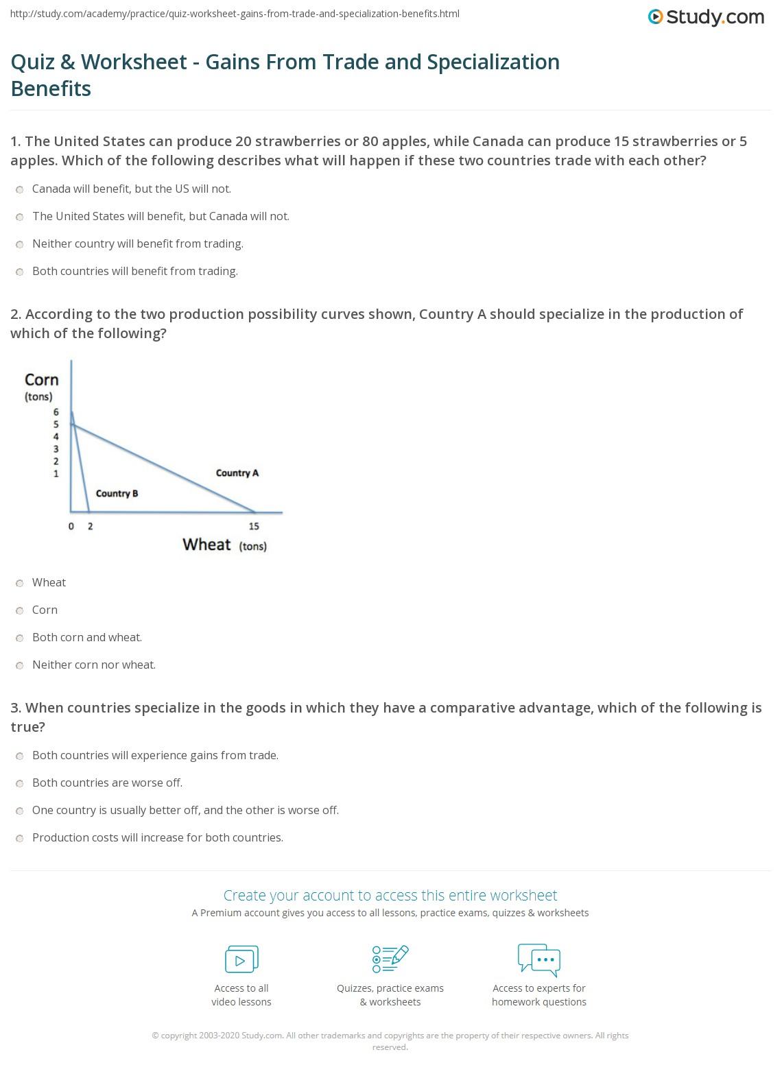 worksheet Comparative Advantage Worksheet quiz worksheet gains from trade and specialization benefits print the benefit of worksheet