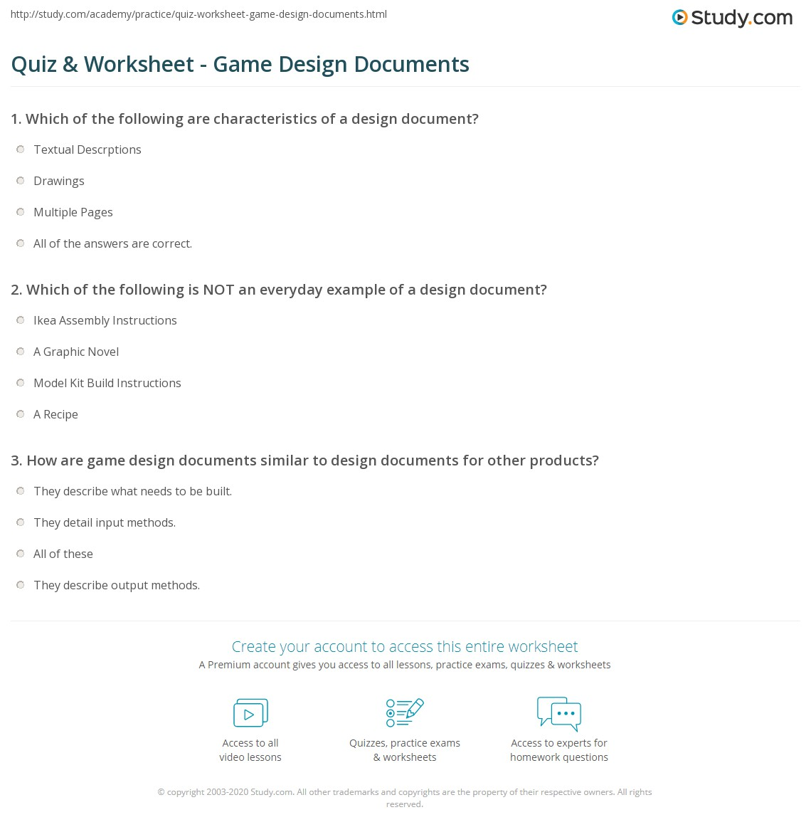 Quiz Worksheet Game Design Documents Studycom - Game technical design document