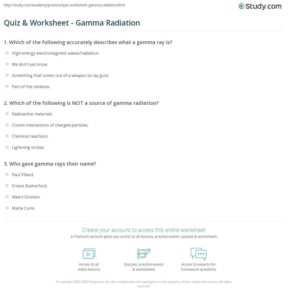 quiz & worksheet - gamma radiation | study