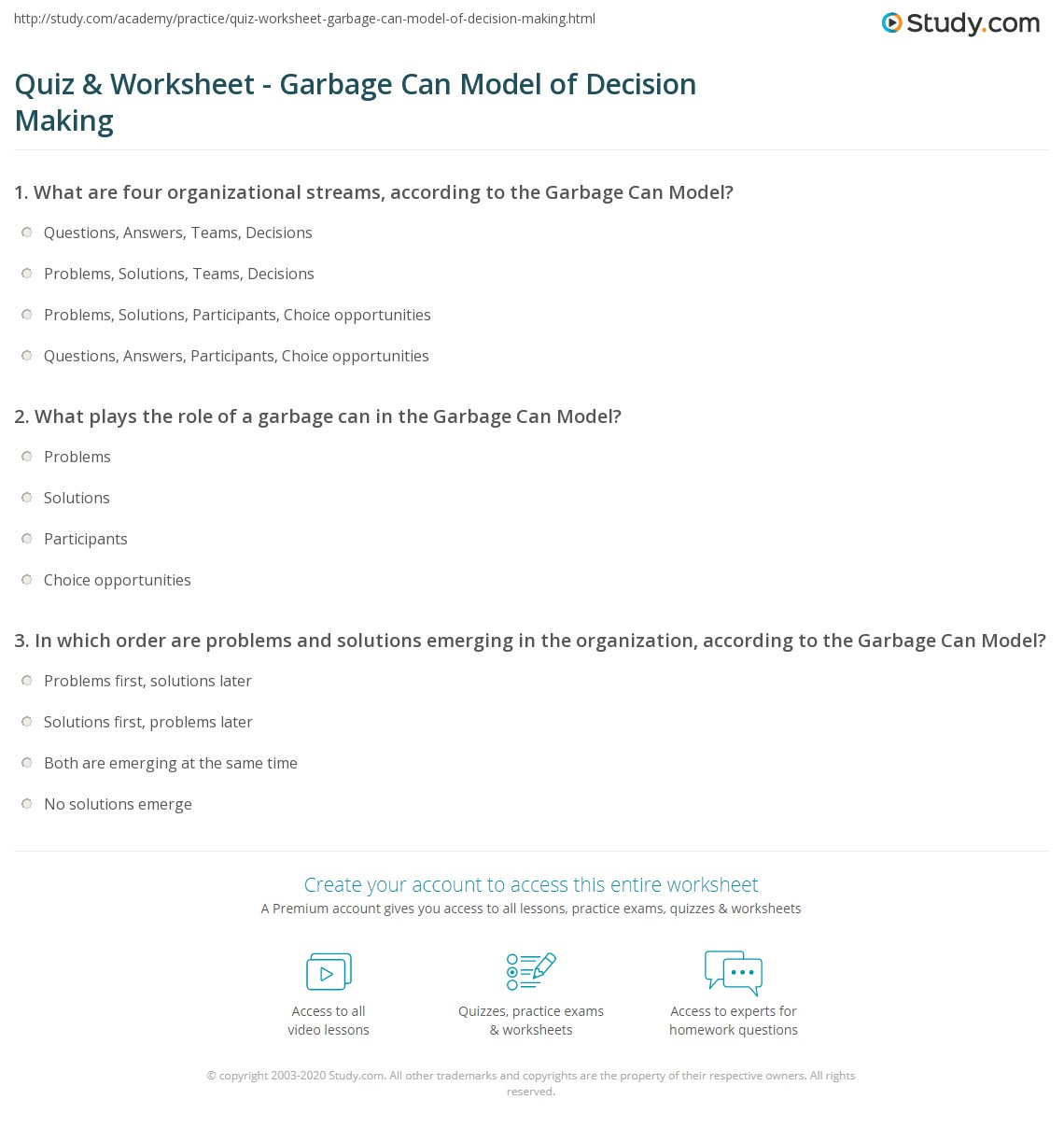 Quiz & Worksheet - Garbage Can Model of Decision Making | Study.com