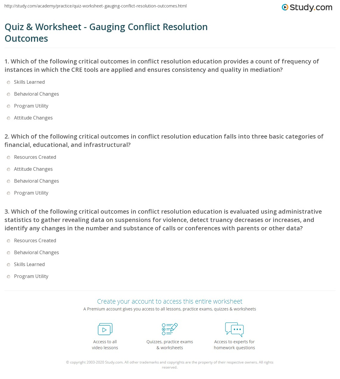 Quiz & Worksheet Gauging Conflict Resolution Out es