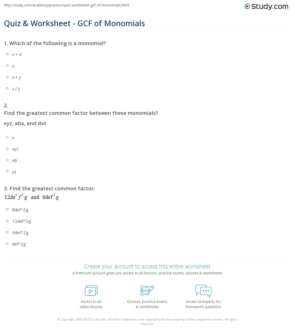 quiz worksheet gcf of monomials. Black Bedroom Furniture Sets. Home Design Ideas