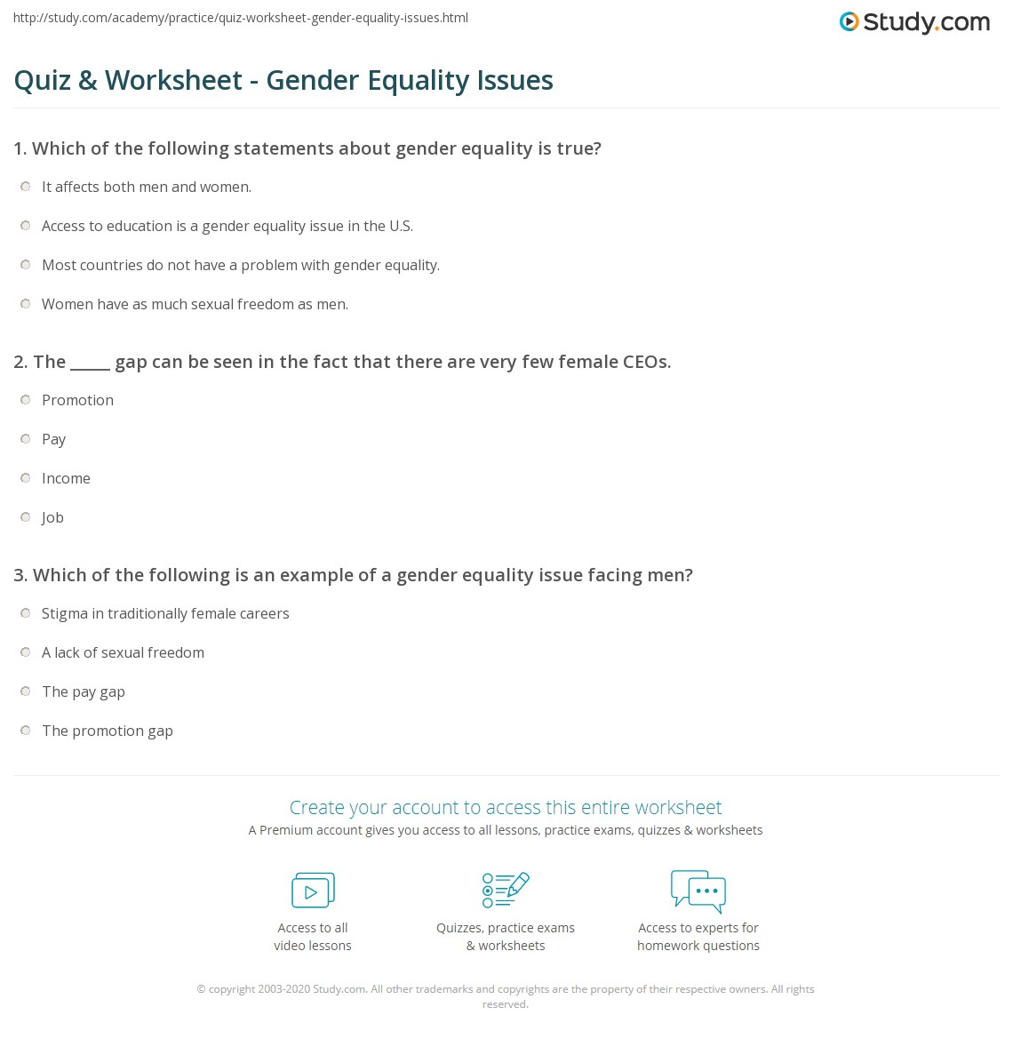 Quiz Worksheet Gender Equality Issues Study Com