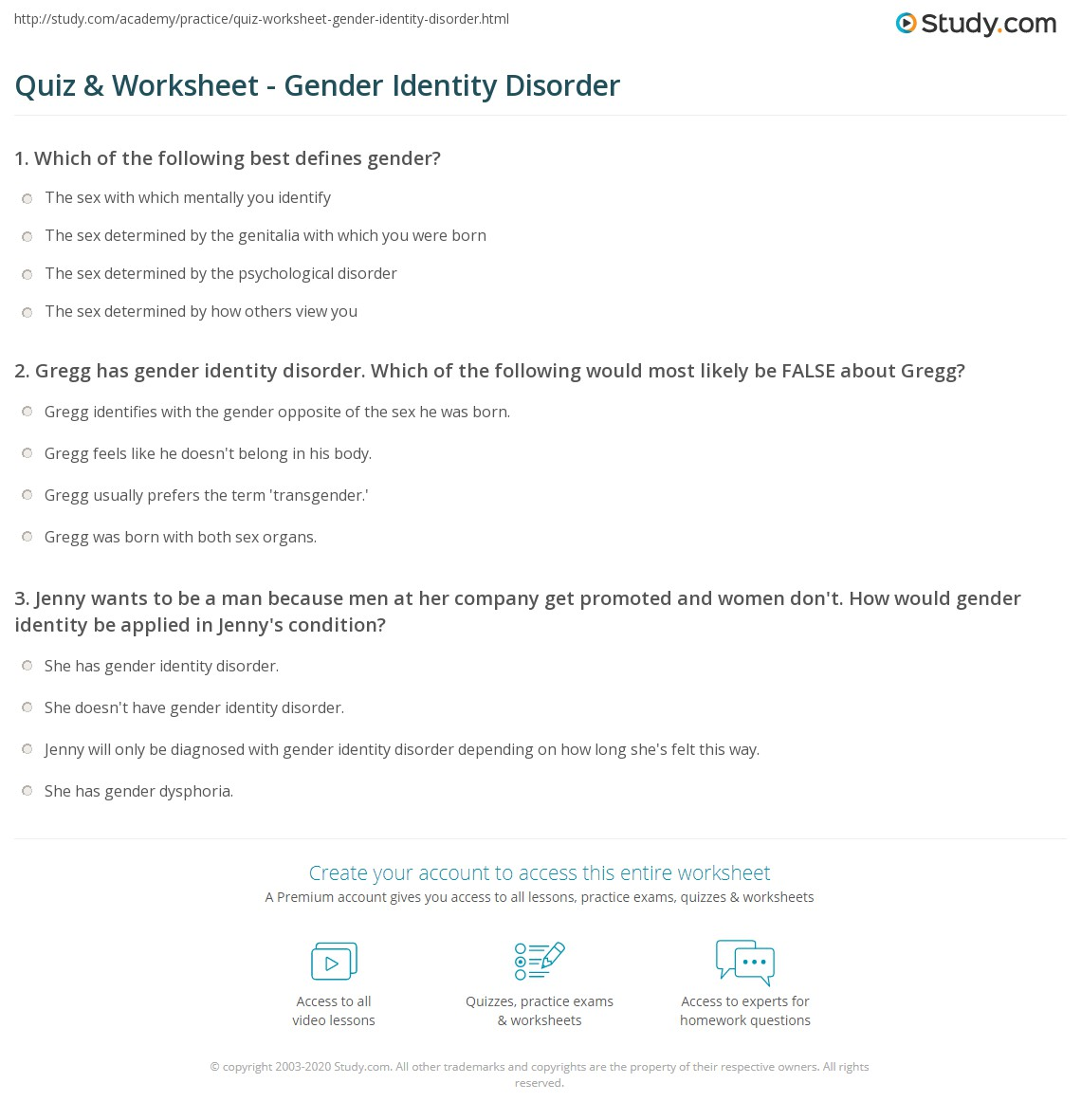 quiz & worksheet - gender identity disorder | study