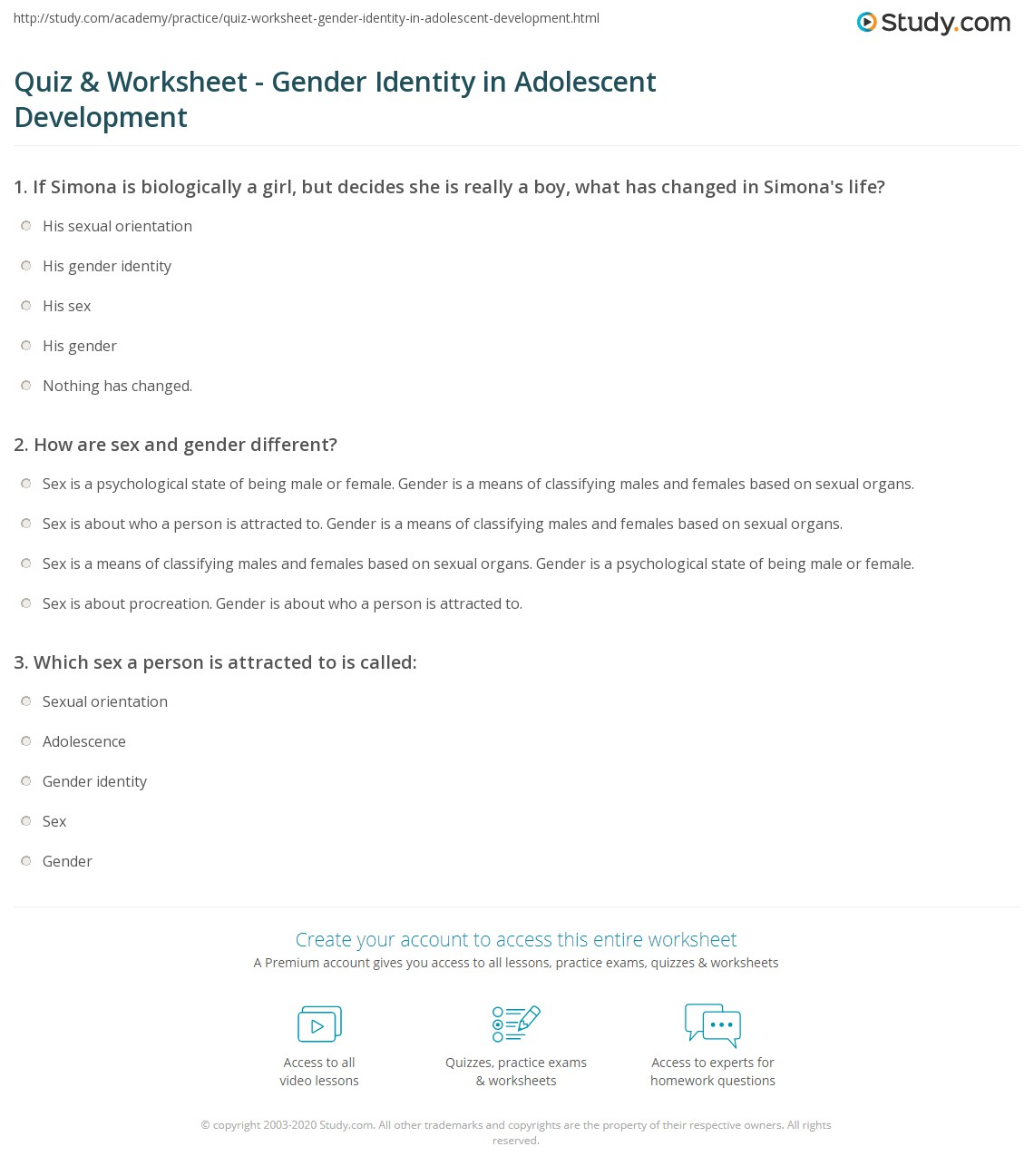 quiz worksheet gender identity in adolescent development  print gender identity in adolescent development worksheet