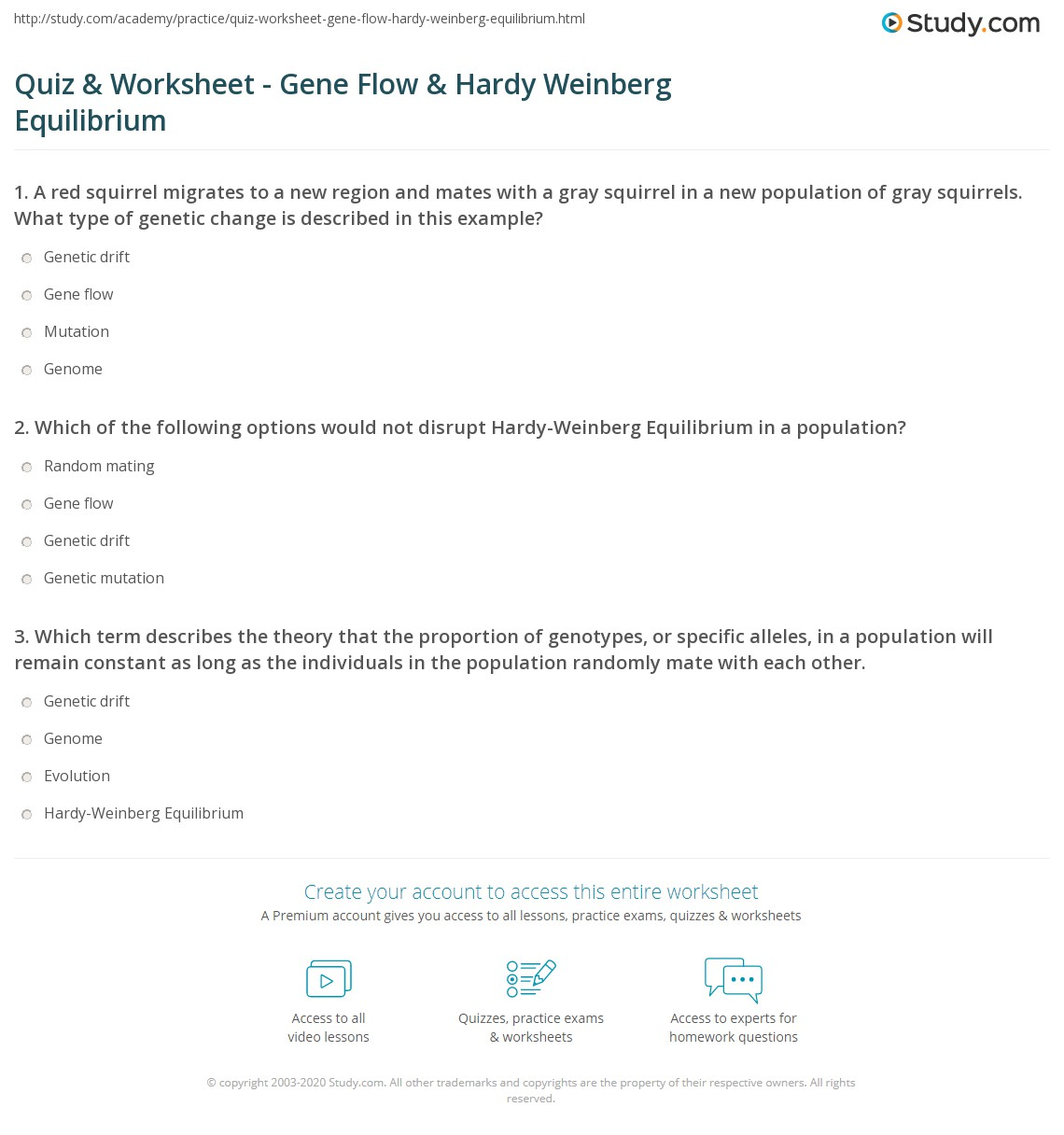 worksheet Hardy Weinberg Practice Problems Worksheet With Answers quiz worksheet gene flow hardy weinberg equilibrium study com print including in worksheet