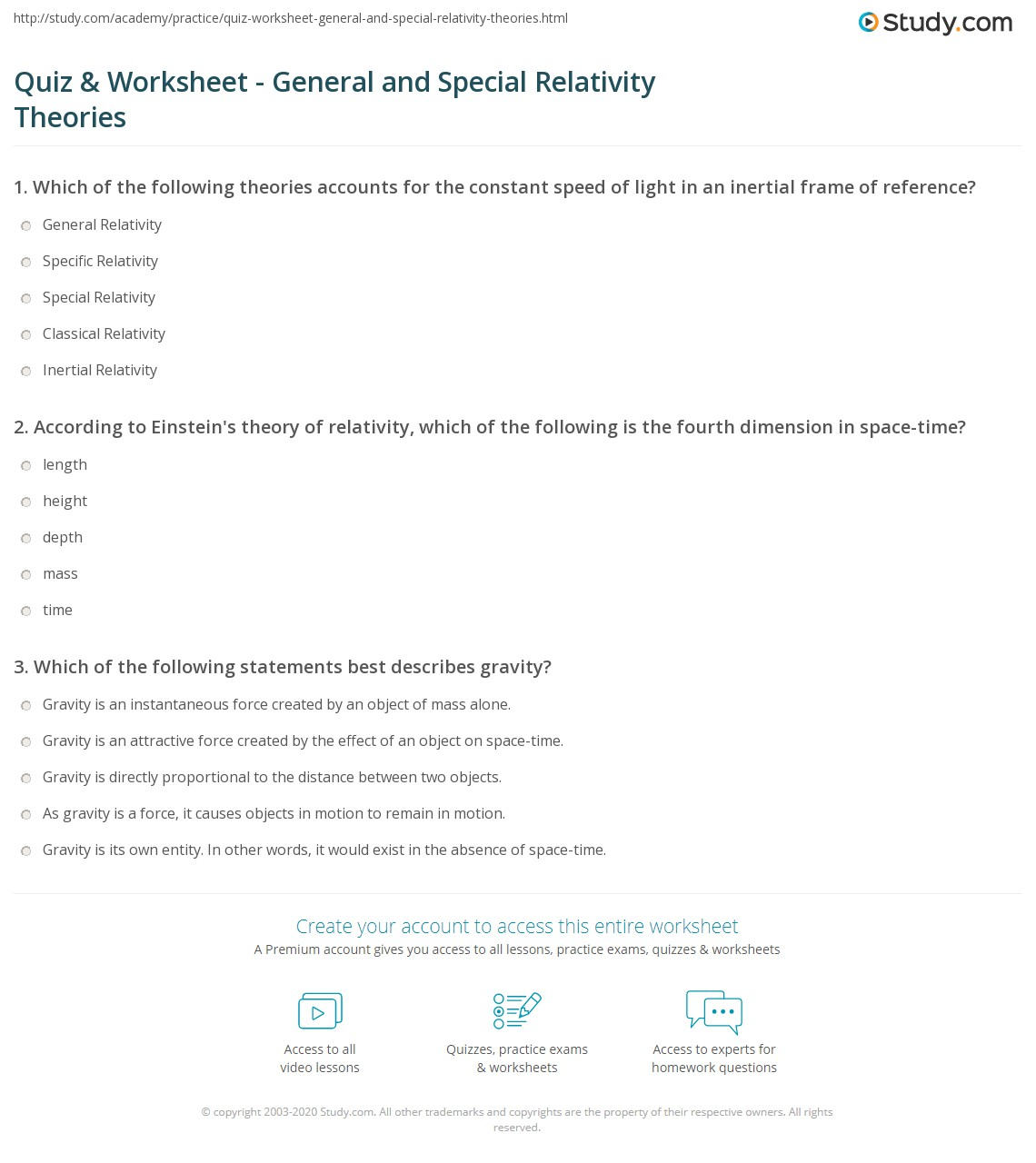 Quiz & Worksheet - General and Special Relativity Theories | Study.com