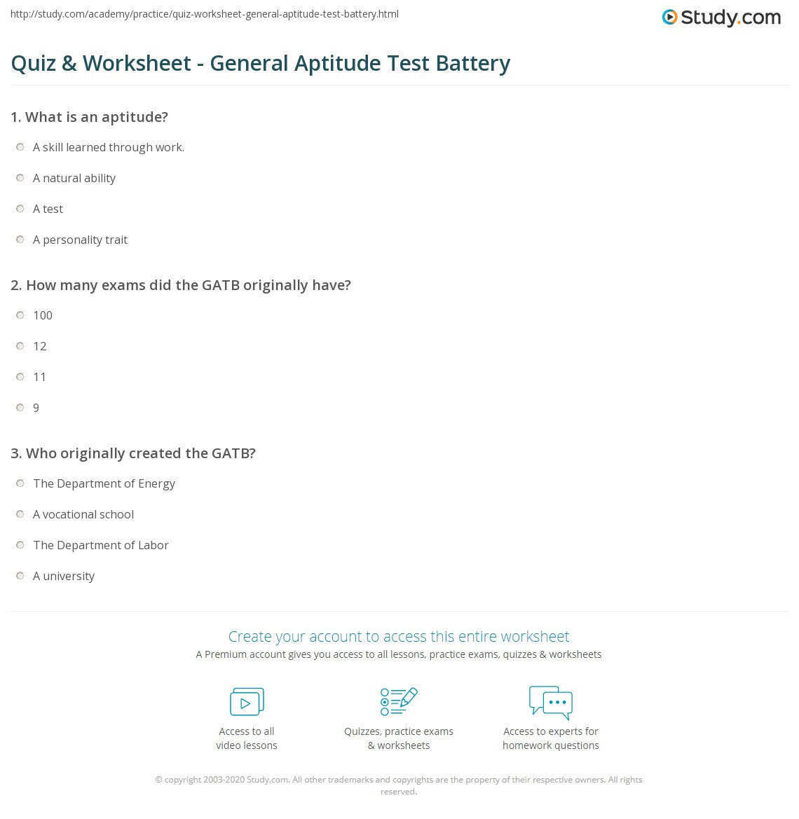 Print What is the General Aptitude Test Battery (GATB)? Worksheet