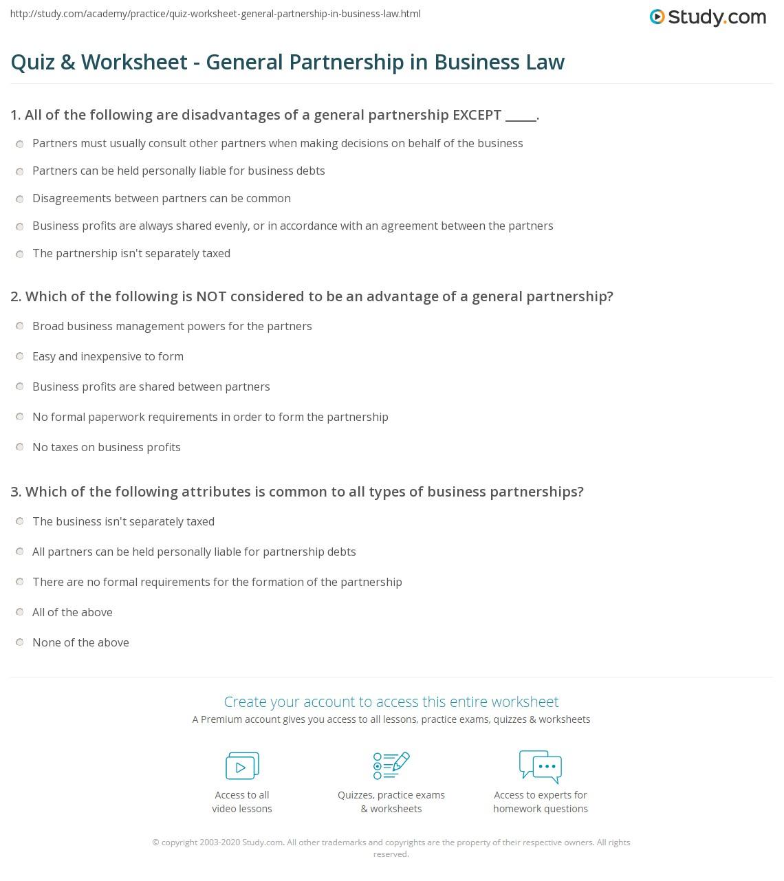 quiz & worksheet - general partnership in business law | study