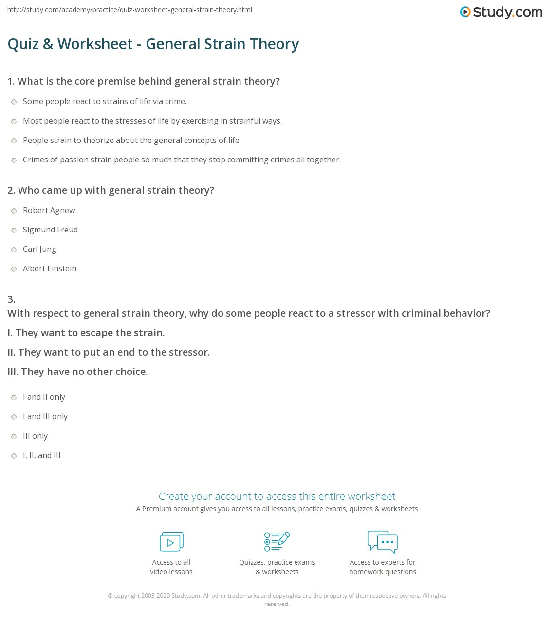 Quiz Worksheet General Strain Theory Study