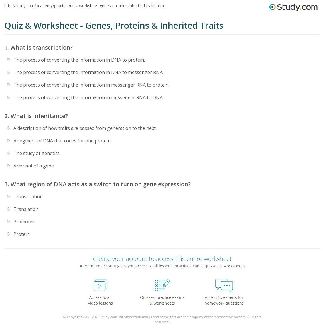 Worksheets Inherited Traits Worksheet quiz worksheet genes proteins inherited traits study com print how gene expression control worksheet