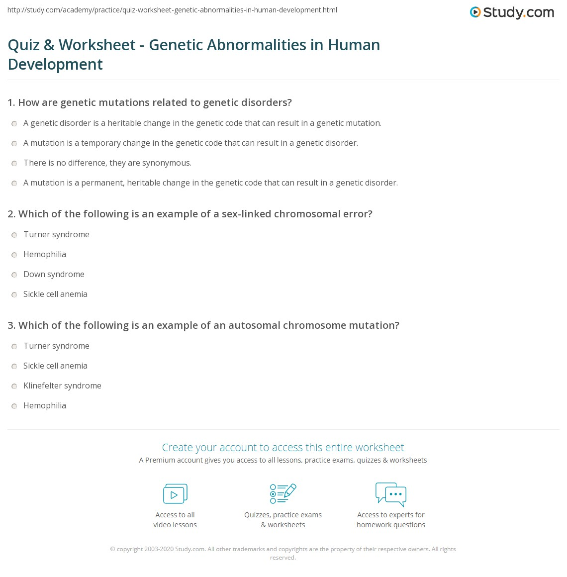 Worksheets Gene Mutation Worksheet quiz worksheet genetic abnormalities in human development print growth and worksheet