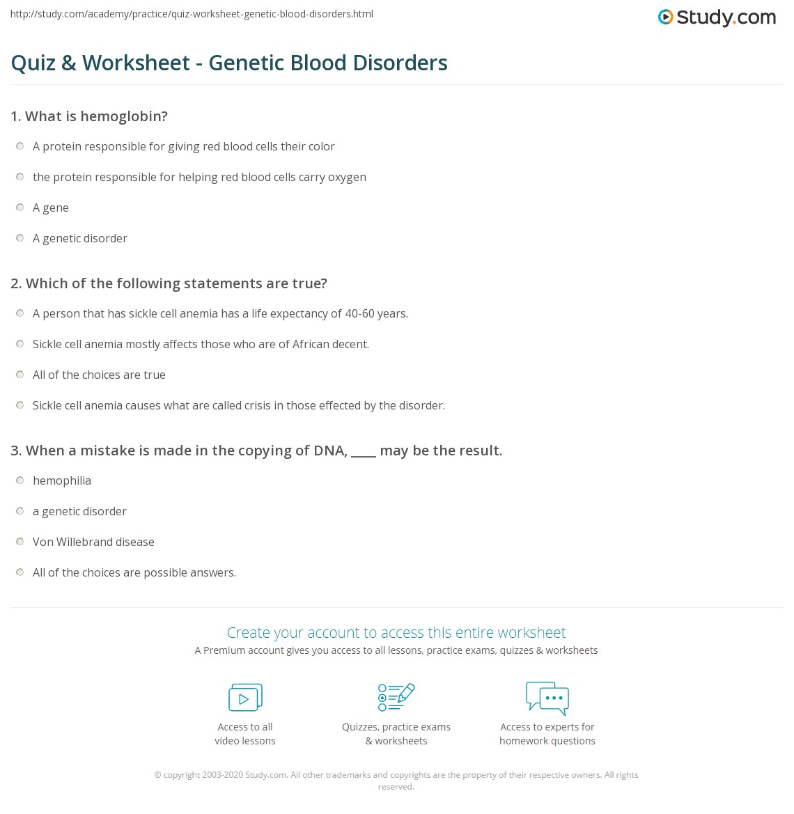 Quiz Worksheet Genetic Blood Disorders Study