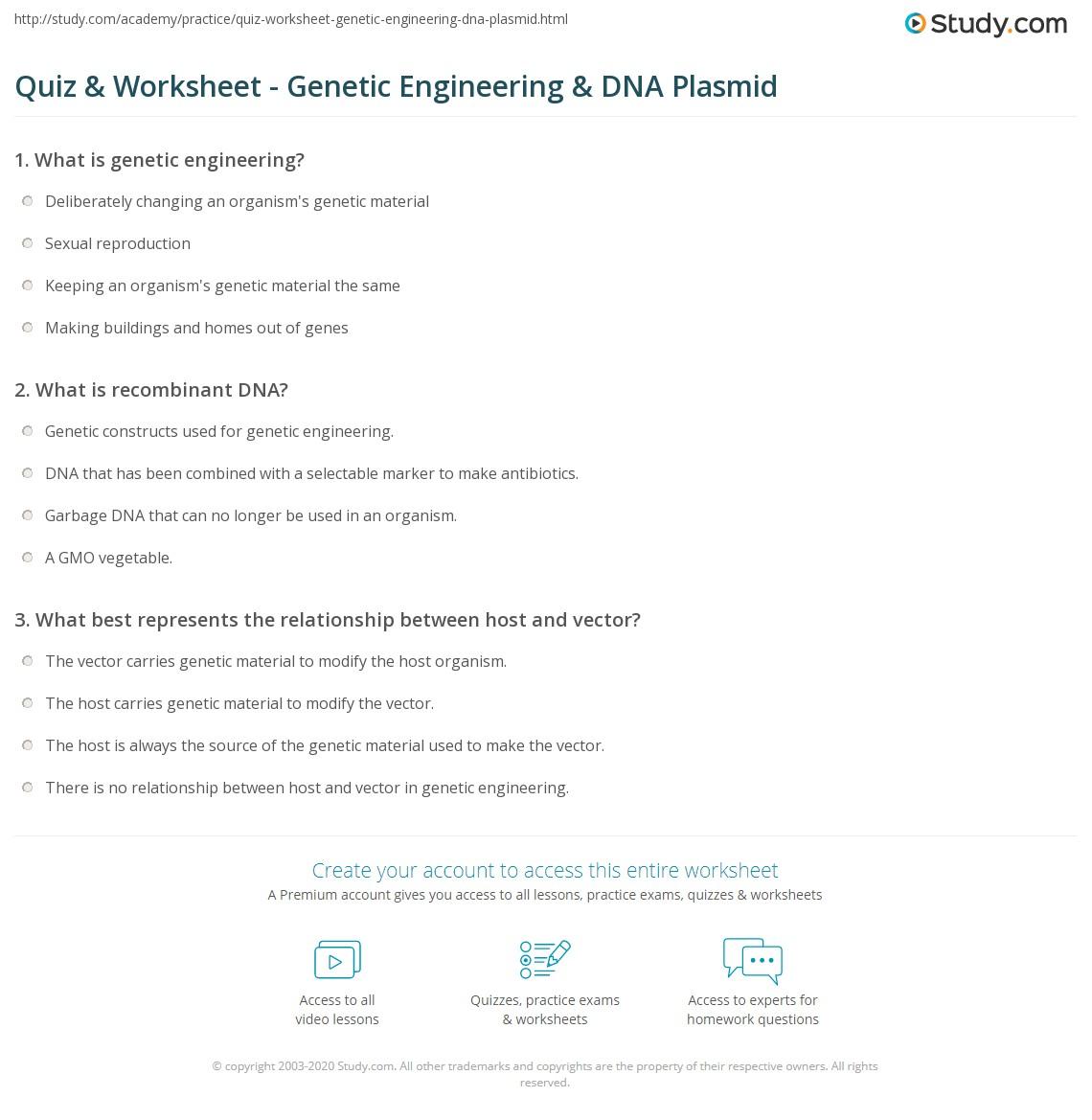 Quiz Worksheet Genetic Engineering Dna Plasmid Study