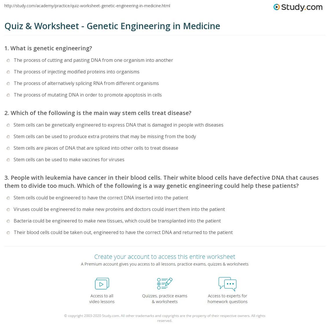 Quiz Worksheet Genetic Engineering In Medicine Study Com