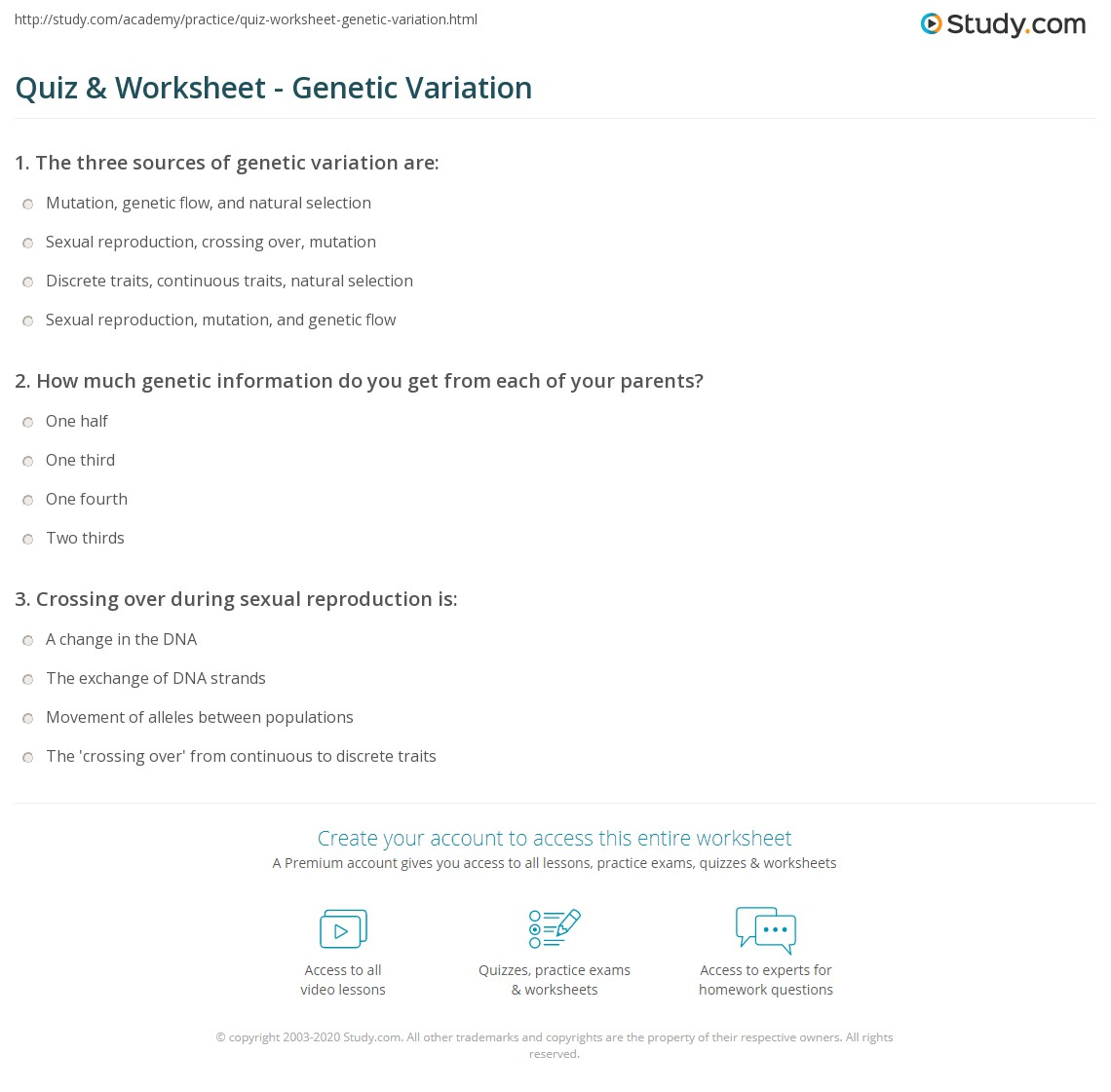 worksheet Genetic Variation Worksheet quiz worksheet genetic variation study com print what is sources definition types worksheet