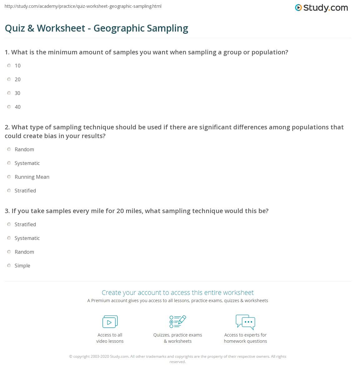 Quiz & Worksheet - Geographic Sampling | Study com