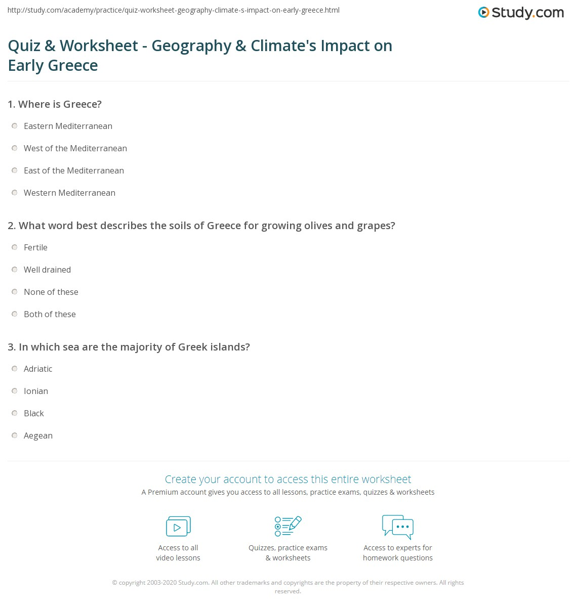worksheet Climate Worksheet quiz worksheet geography climates impact on early greece print how climate shaped greek life worksheet