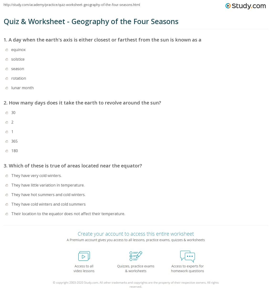 Worksheets Seasons Worksheet quiz worksheet geography of the four seasons study com print worksheet