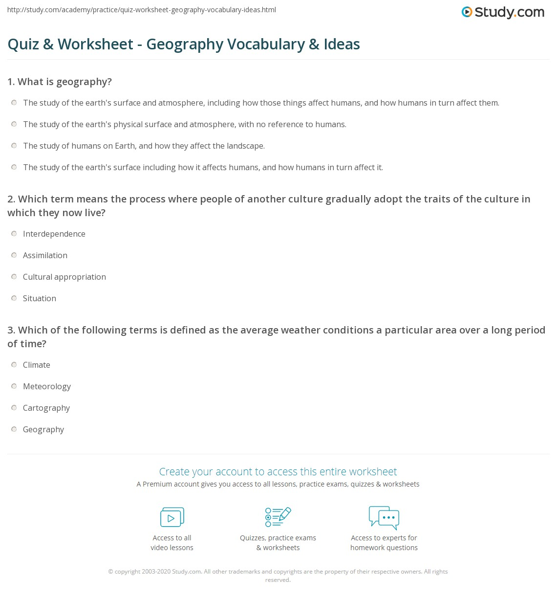 Quiz & Worksheet - Geography Vocabulary & Ideas | Study.com