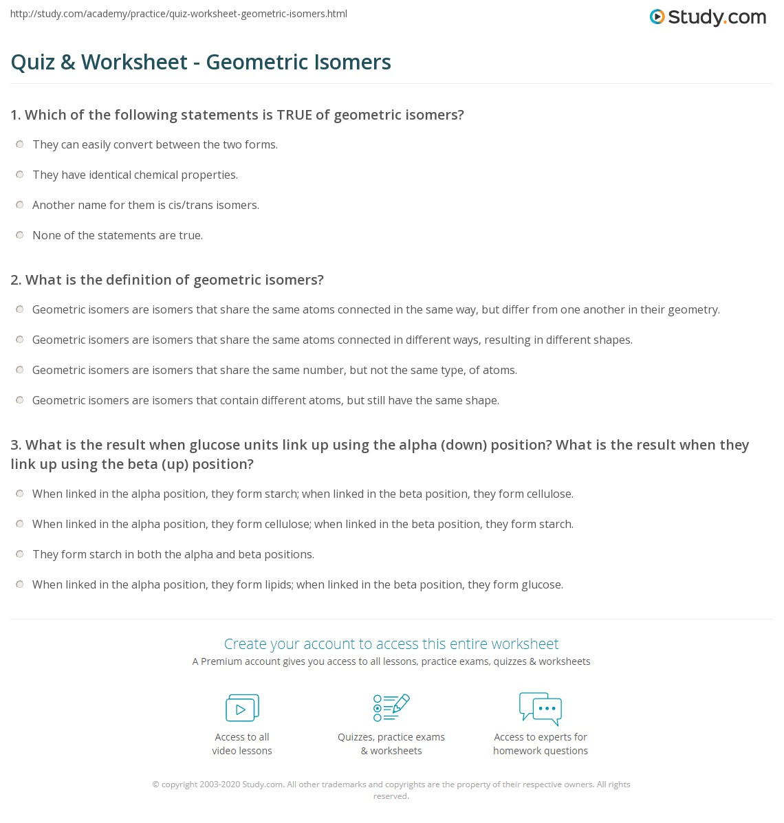 Quiz Worksheet Geometric Isomers Study