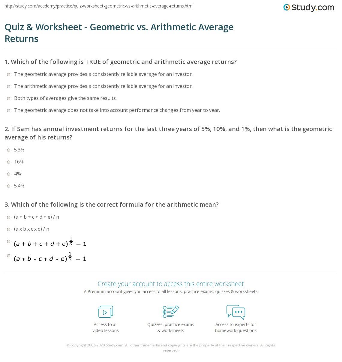 Quiz Worksheet Geometric vs Arithmetic Average Returns – Geometric Mean Worksheet