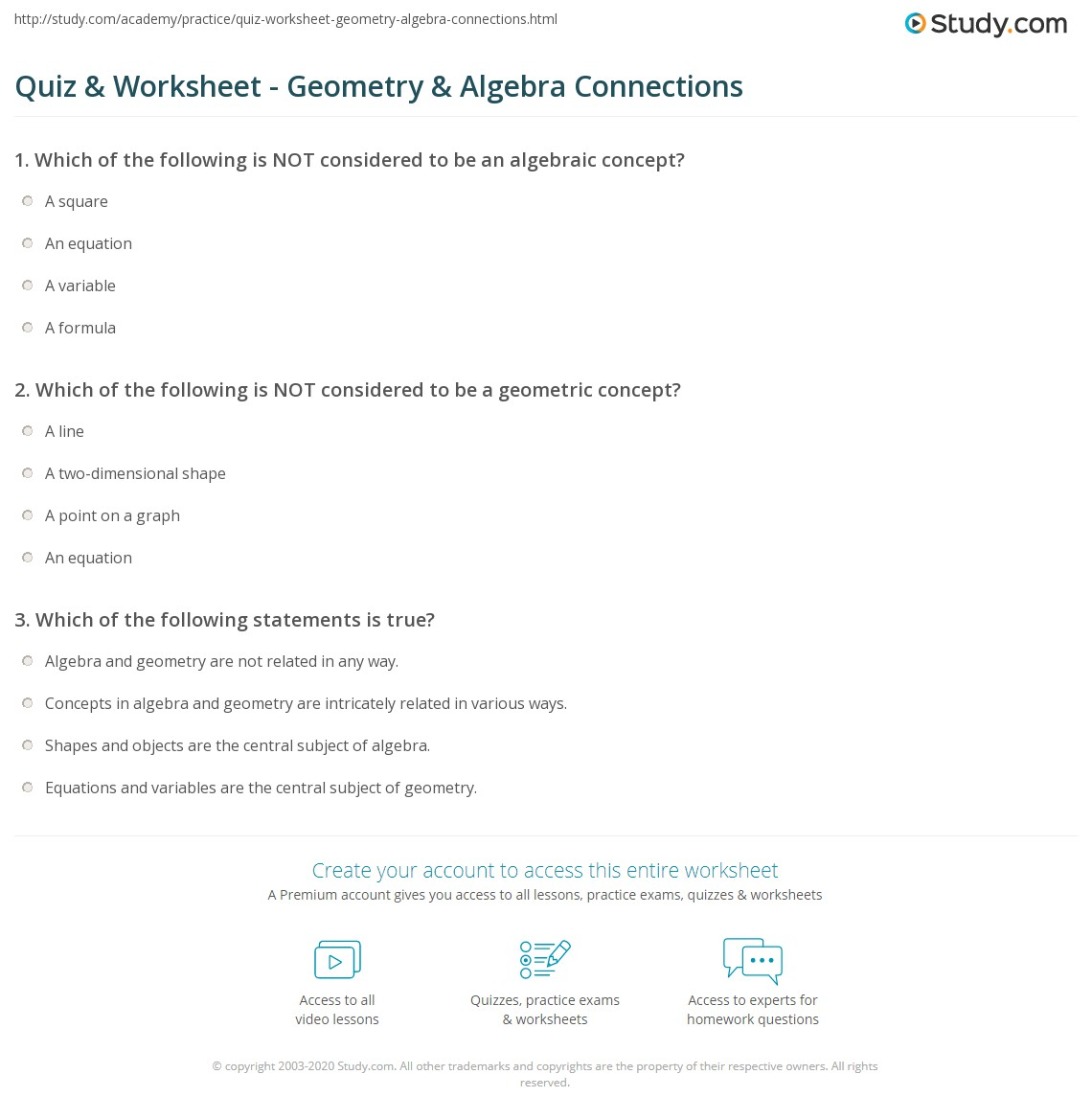 Quiz & Worksheet - Geometry & Algebra Connections | Study.com