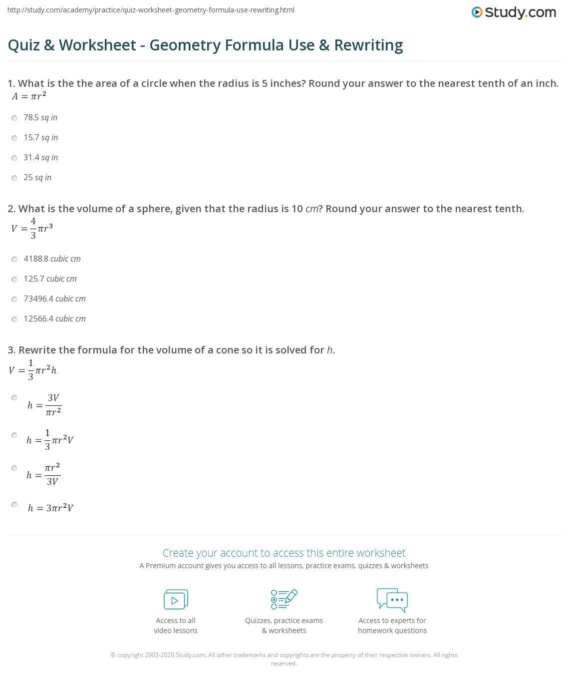 Quiz Worksheet Geometry Formula Use Rewriting