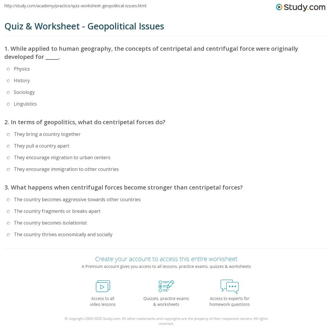 Worksheets Centripetal Force Worksheet quiz worksheet geopolitical issues study com print centripetal centrifugal forces in geopolitics worksheet