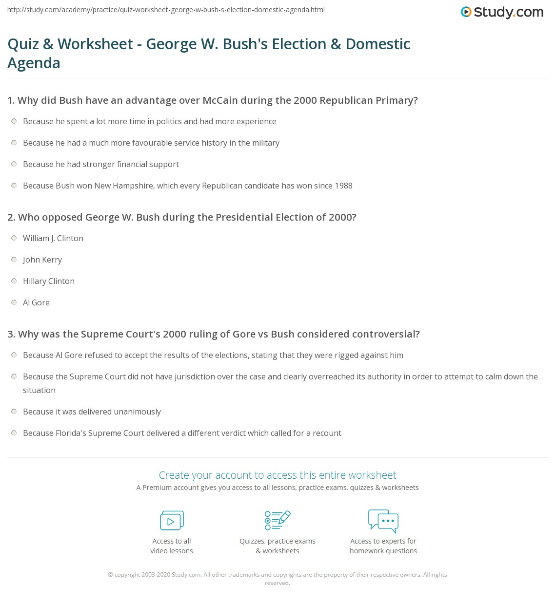 Quiz Worksheet George W Bush S Election Domestic Agenda