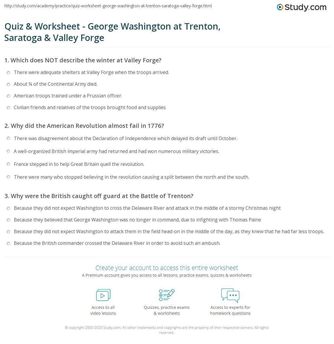 Worksheets George Washington Worksheets quiz worksheet george washington at trenton saratoga valley print washingtons leadership forge worksheet