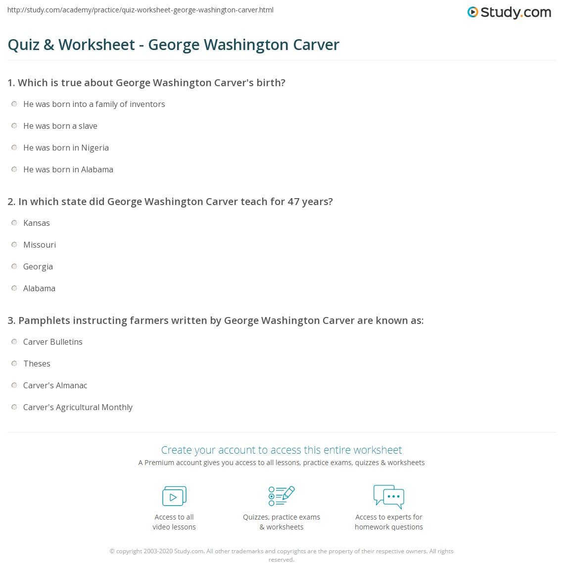 worksheet George Washington Carver Worksheets quiz worksheet george washington carver study com print inventions quotes biography worksheet