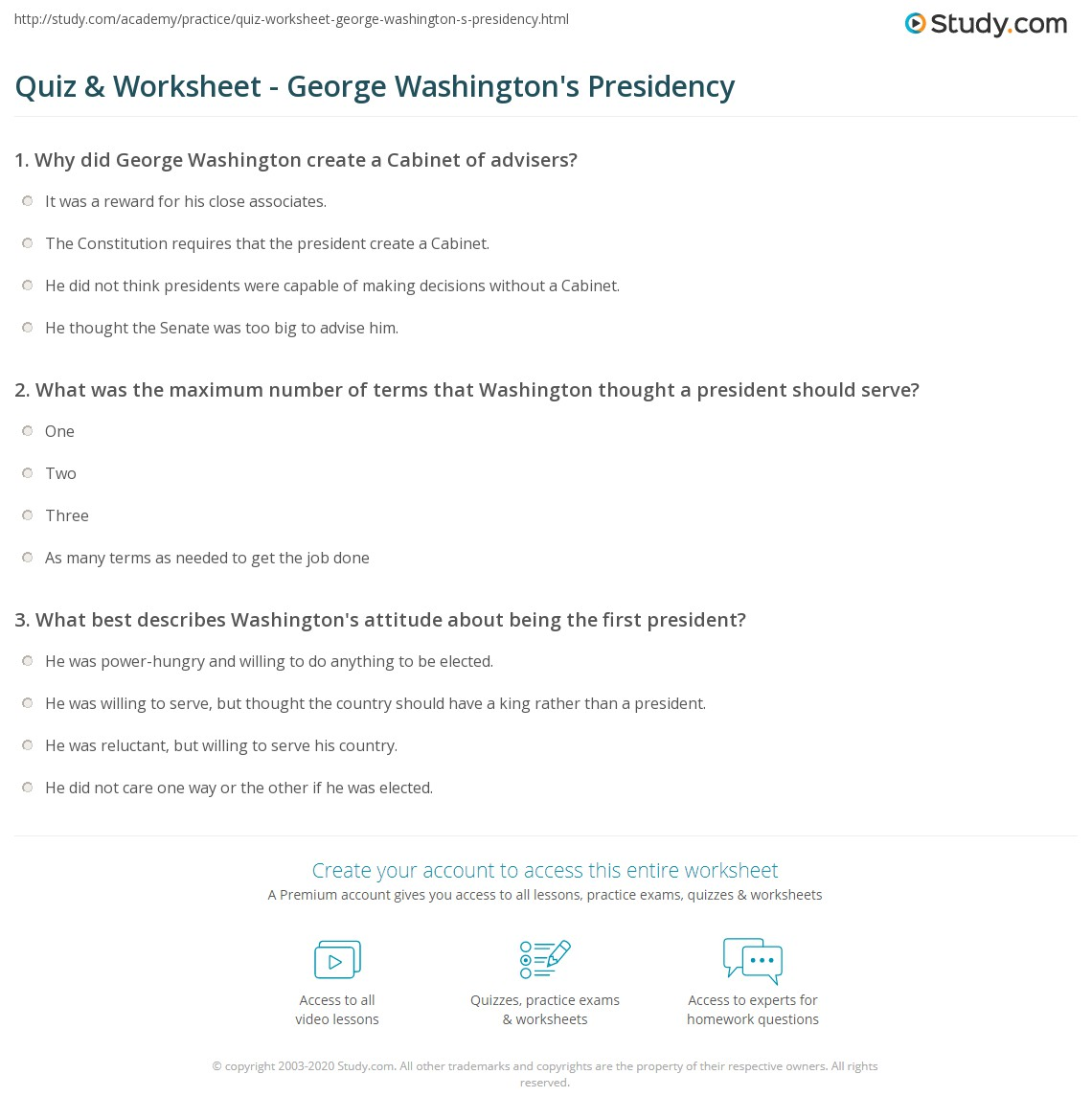 Print George Washington Presidency Facts Worksheet