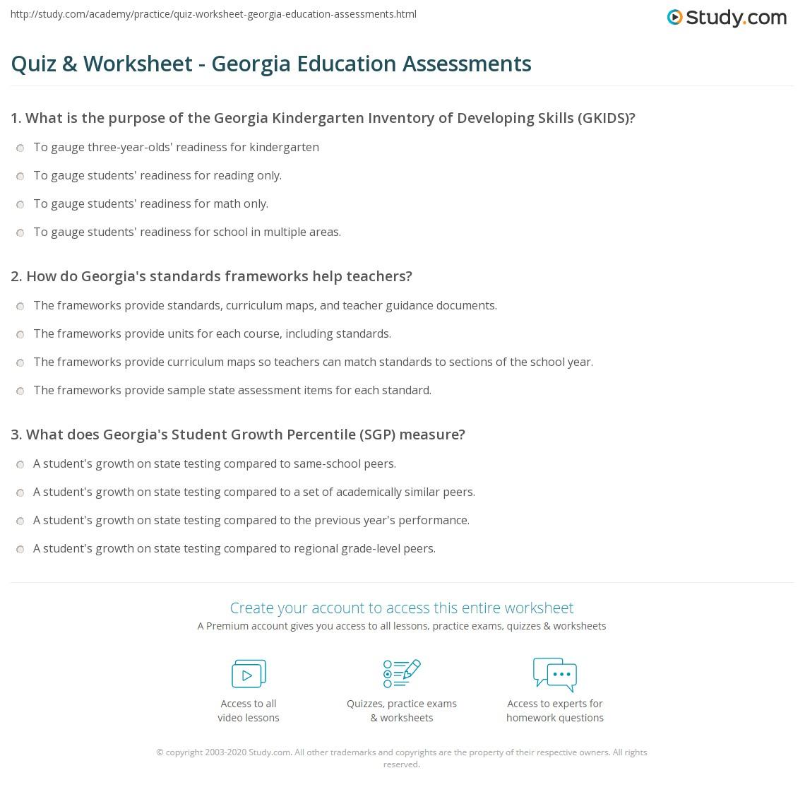 Quiz Worksheet Georgia Education Assessments Study
