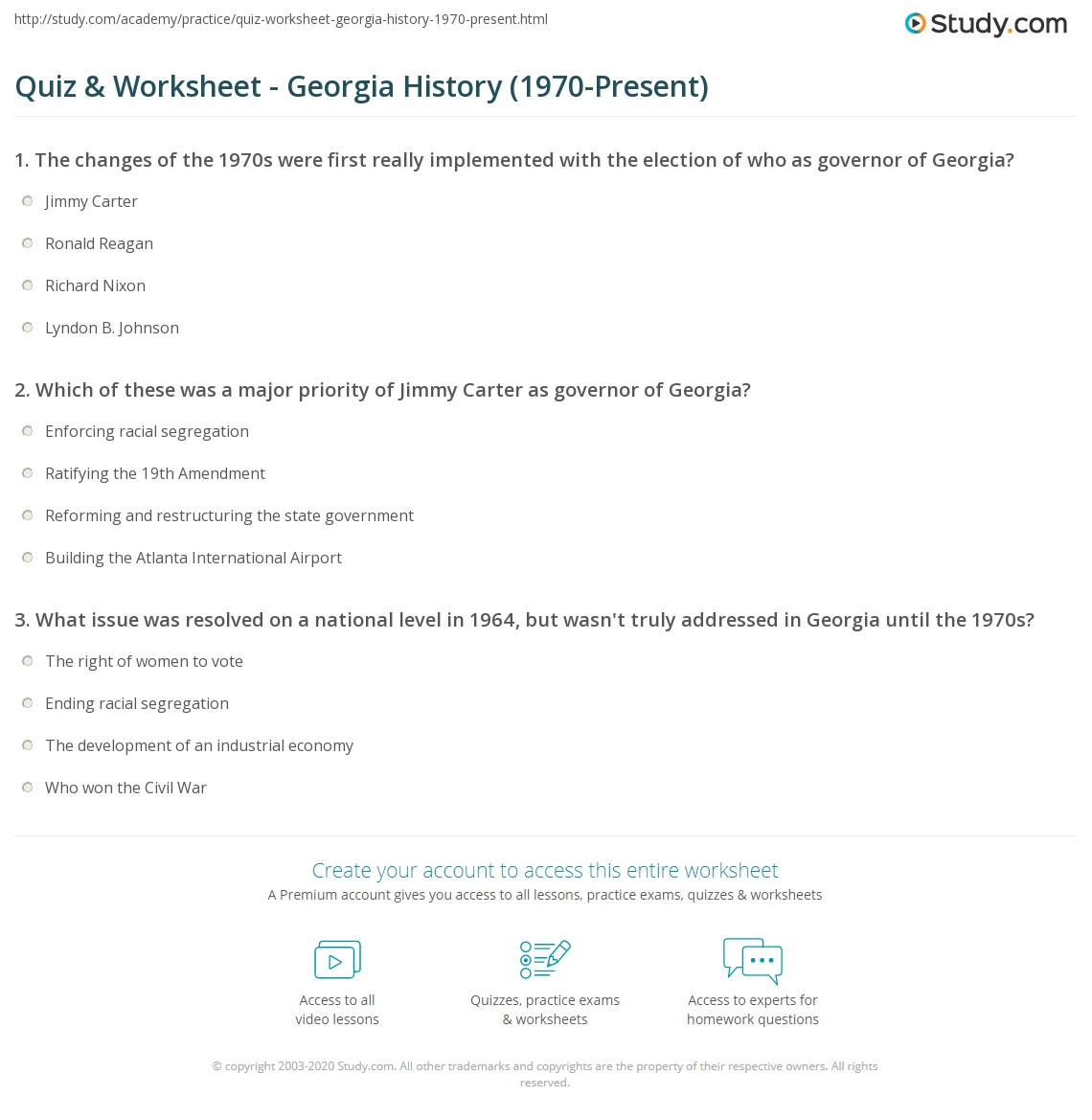 quiz worksheet georgia history 1970 present. Black Bedroom Furniture Sets. Home Design Ideas