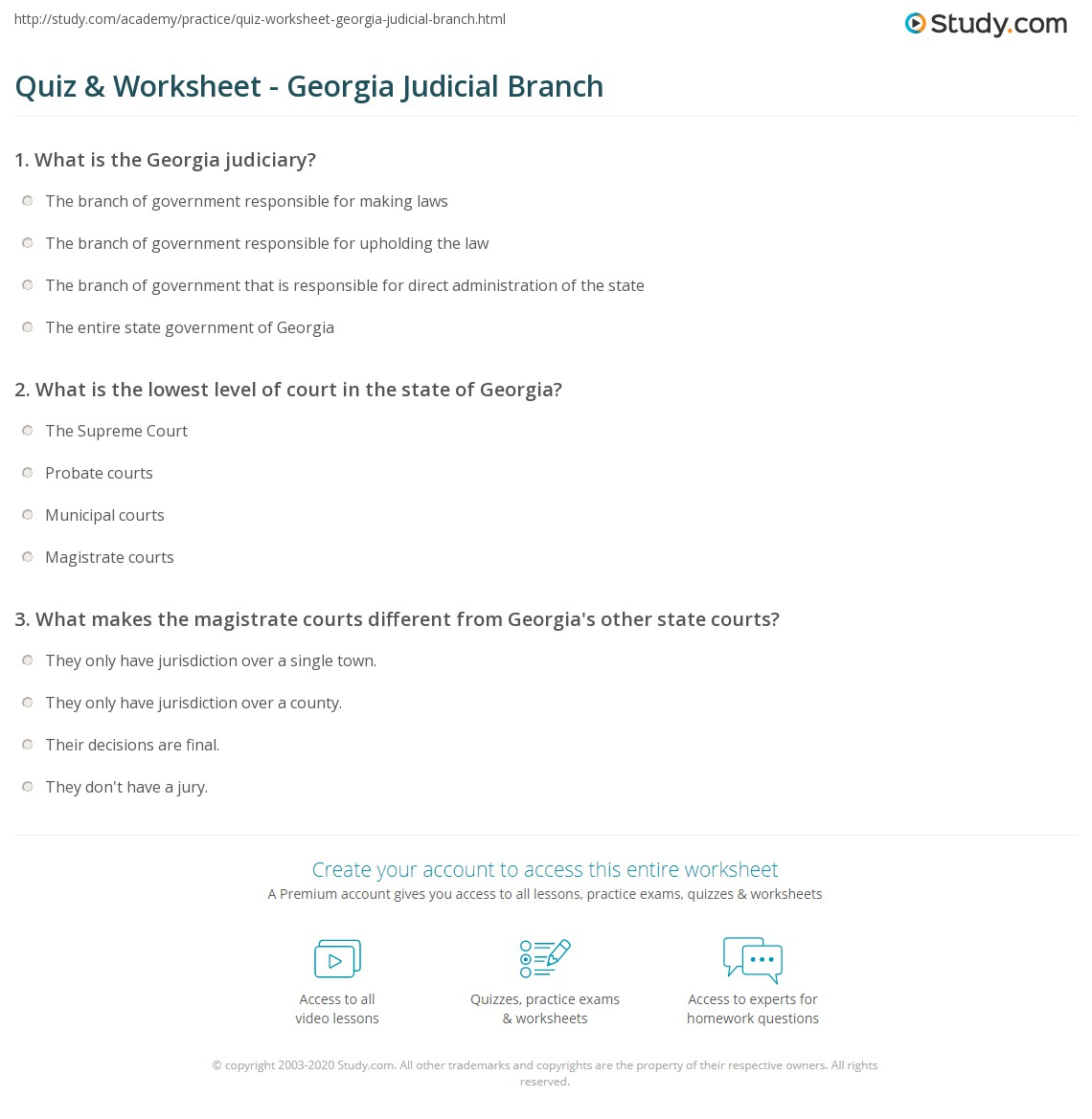 Worksheets Judicial Branch Worksheet quiz worksheet georgia judicial branch study com print structure processes of the worksheet