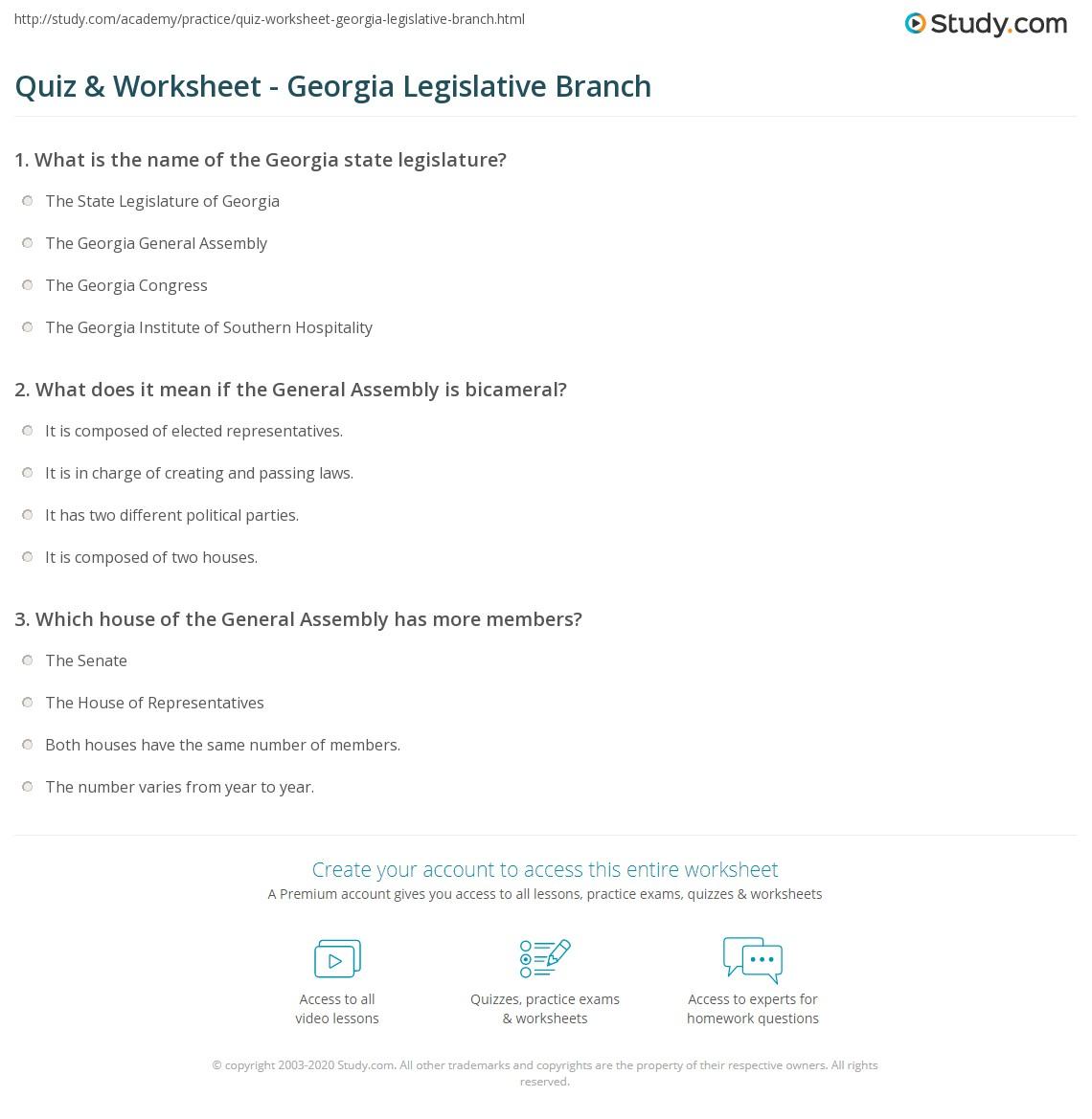 Quiz Worksheet Georgia Legislative Branch Study