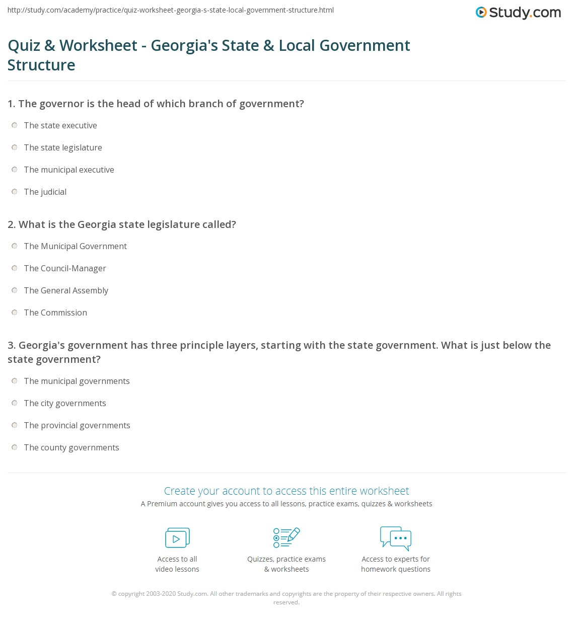 Quiz Worksheet Georgias State Local Government Structure – Three Branches of Government Worksheets