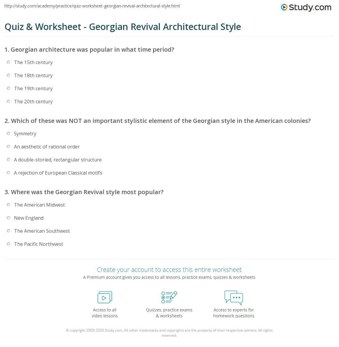 quiz worksheet georgian revival architectural style study com