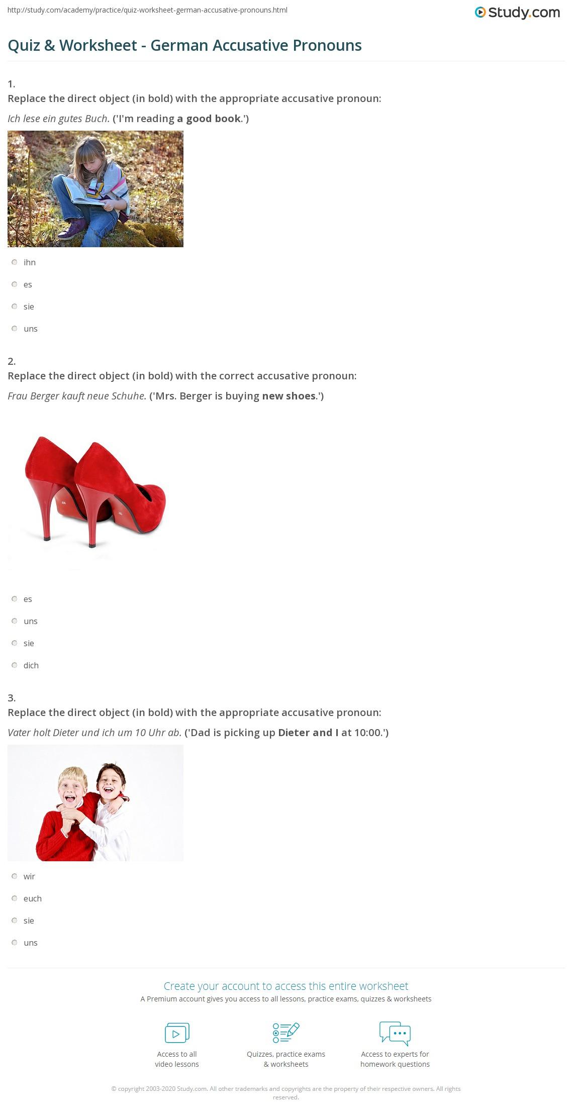 quiz worksheet german accusative pronouns. Black Bedroom Furniture Sets. Home Design Ideas