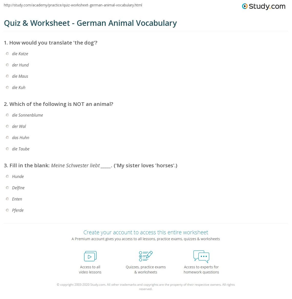 Quiz & Worksheet - German Animal Vocabulary | Study com