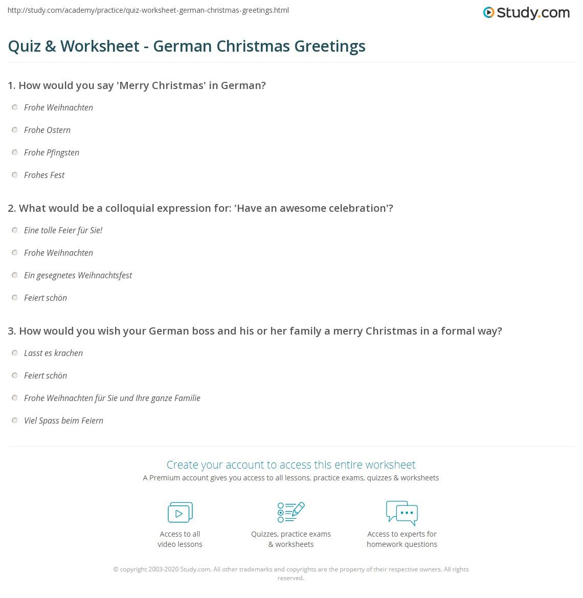 print german christmas greetings worksheet - Merry Christmas In German How To Say