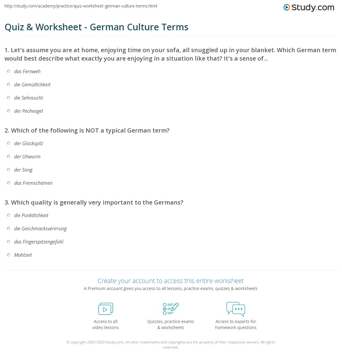 quiz worksheet german culture terms. Black Bedroom Furniture Sets. Home Design Ideas