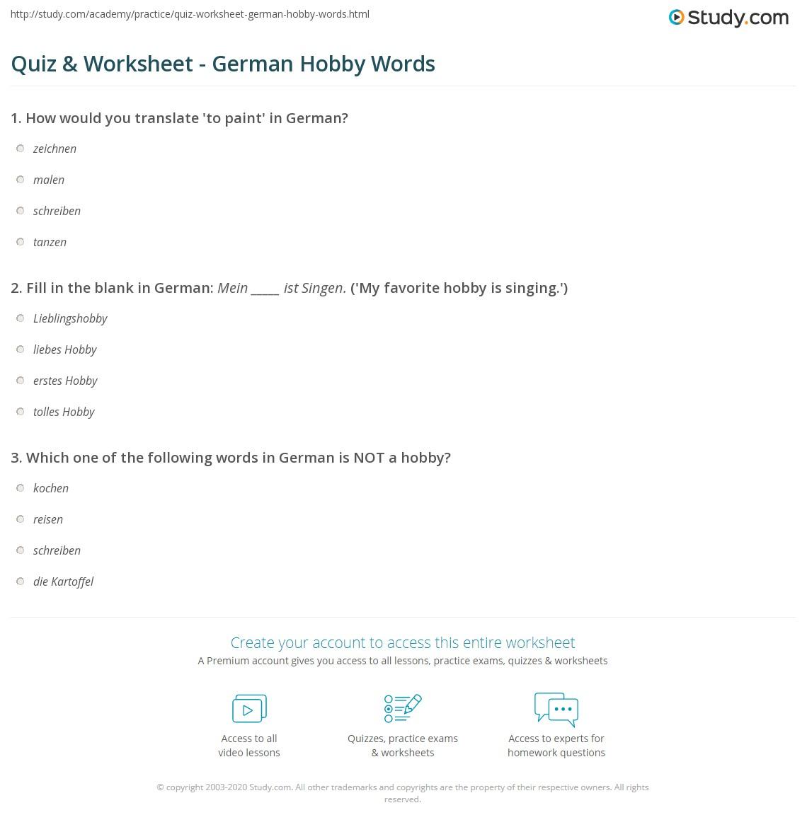 Quiz & Worksheet - German Hobby Words | Study com