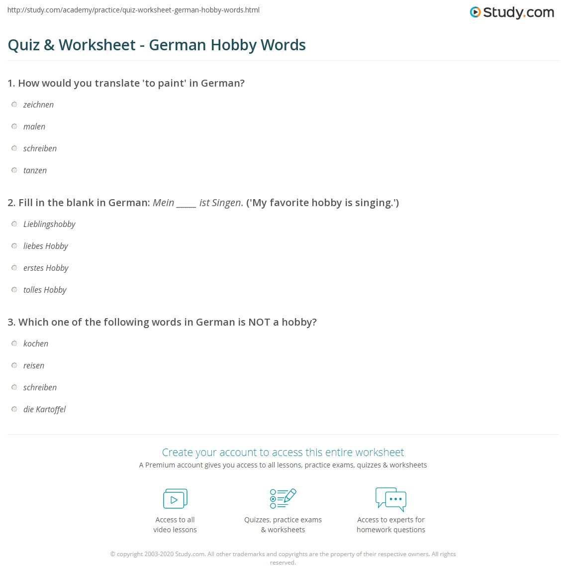 Favorite hobby quiz