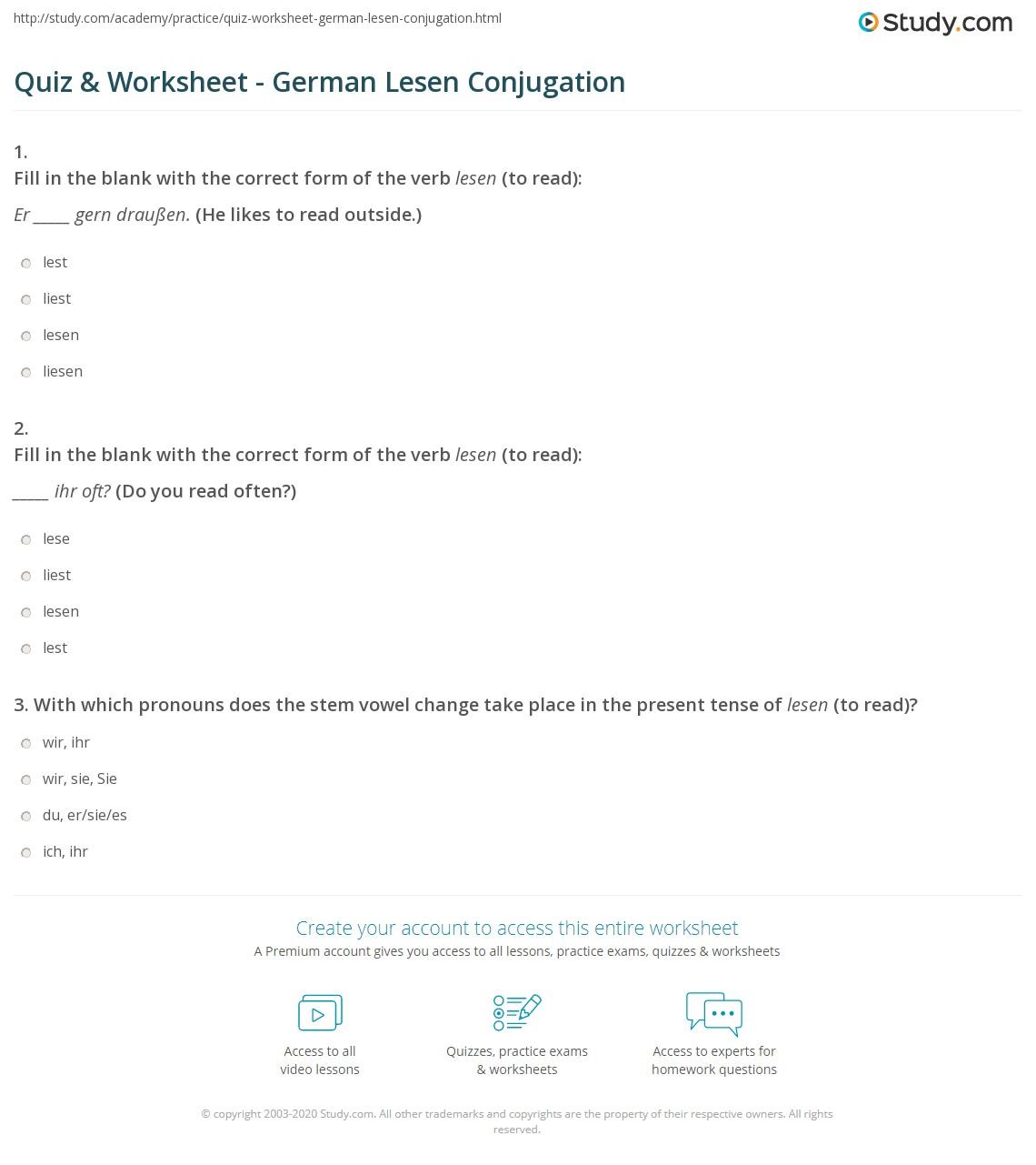quiz worksheet german lesen conjugation. Black Bedroom Furniture Sets. Home Design Ideas